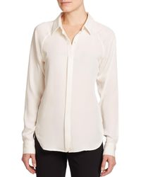 Theory | White Lanali Silk Blouse | Lyst