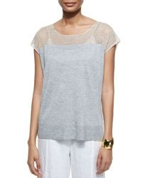 Eileen Fisher - Gray Linen Delave Mesh-yoke Top - Lyst