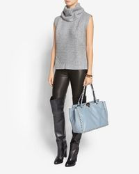 Valentino - Gray Rockstud Medium Leather Tote Grey - Lyst