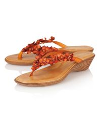 Lotus | Orange Florence Toe Post Sandals | Lyst