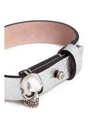 Alexander McQueen | Metallic Skull Grainy Leather Bracelet | Lyst