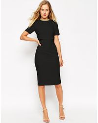 ASOS | Black Embellished Collar Crop Top Pencil Dress | Lyst