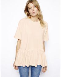 ASOS - Natural Oversized Smock T-Shirt - Lyst