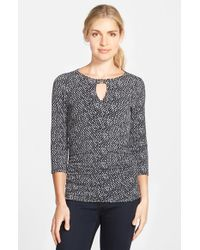 Vince Camuto - Purple Print Side Ruched Keyhole Top - Lyst