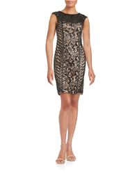 Sue Wong | Black Sequined Illusion Sheath Dress | Lyst