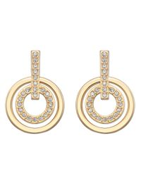 Swarovski | Metallic Circle Gold-Plated Crystallized Earrings | Lyst