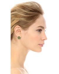 House of Harlow 1960 - Green Sunburst Button Earrings Olive - Lyst