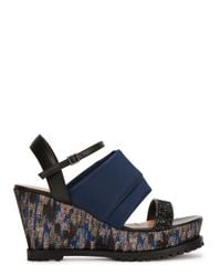 Markus Lupfer - Gray Brocade-Panelled Wedge Sandals - Lyst