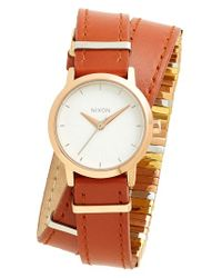 Nixon | Brown 'the Kenzi' Metal Detail Wrap Leather Strap Watch | Lyst