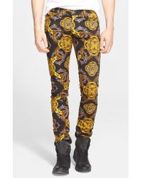 Versace Jeans - Multicolor Baroque Print Stretch Denim Jeans for Men - Lyst