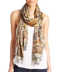 Etro   Beige Wallpaper Modal and Cashmere Scarf   Lyst