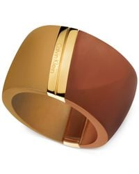 Calvin Klein | Metallic Pvd-Coated Stainless Steel Gold And Bronze Colorblocked Ring | Lyst