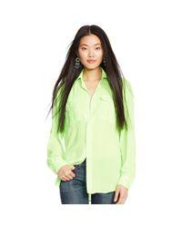 Polo Ralph Lauren - Green Crepe Long-sleeved Blouse - Lyst