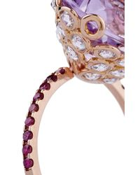 Lito - Metallic One Of A Kind 18K Rose Gold Ring With Amethyst - Lyst