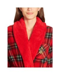 Ralph Lauren - Red Fleece-trim Shawl-collar Robe - Lyst