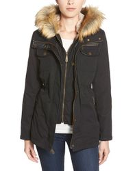 Vince Camuto Black Faux Fur & Faux Leather Trim Twill Utility Parka