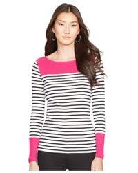 Lauren by Ralph Lauren | White Stripe Contrast Top | Lyst