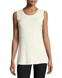 Misook | Natural Sleeveless Long Tank | Lyst