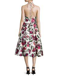 MILLY - Black Floral Halter Tea-length Dress - Lyst