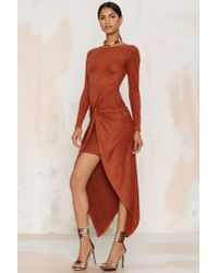 Nasty Gal | Orange Knot Pursuit Vegan Suede Midi Dress | Lyst