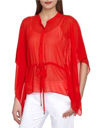 Catherine Malandrino | Red Zak Sheer Blouse | Lyst