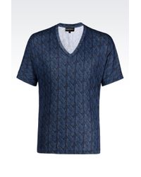 Emporio Armani | Blue T-shirt In Cotton Jersey for Men | Lyst