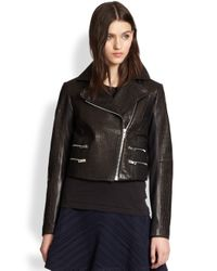 Rag & Bone - Black Leather Vespa Moto Jacket - Lyst