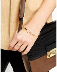 ASOS | Metallic Fine Open Heart Bangle Bracelet | Lyst
