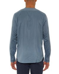 Façonnable - Blue Collarless Silk Shirt for Men - Lyst