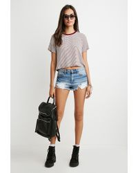 Forever 21 - Natural Cropped Boxy Striped Tee - Lyst