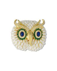 Kenneth Jay Lane | Metallic White Owl Brooch | Lyst