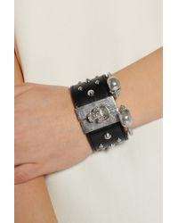 Alexander McQueen - Black Studded Swarovski Crystal and Leather Skull Cuff - Lyst