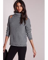 Missguided | Gray Peep Hole Chunky Jumper Grey | Lyst