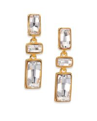 Kenneth Jay Lane | Metallic Jeweled Rectangle Drop Earrings | Lyst