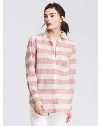 Banana Republic | Pink Soft-wash Striped Boyfriend Shirt | Lyst