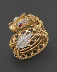 John Hardy - Batu Naga 18k Yellow Gold Diamond Pave Dragon Coil Ring with African Ruby Eyes - Lyst