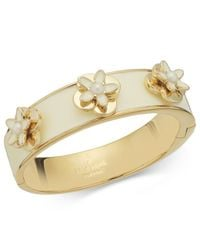kate spade new york - White New York Gold-tone Ivory Enamel and Faux Pearl Flower Bangle Bracelet - Lyst