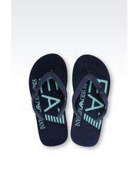 EA7 | Blue Rubber Flip Flop With Logo for Men | Lyst