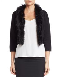 Chetta B | Black Faux Fur-collared Cardigan | Lyst