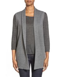 Eileen Fisher - Gray Textured Shawl Collar Merino Wool Vest - Lyst