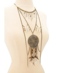 Forever 21 | Metallic Feather And Faux Stone Necklace | Lyst