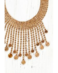 Free People | Metallic Vintage Necklace With Amber Gems | Lyst