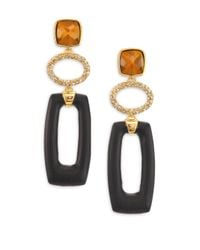 Alexis Bittar | Black Lakana Lucite, Tiger's Eye & Crystal Link Drop Earrings | Lyst