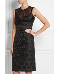 Alexander McQueen - Black Silk-tulle And Cotton-blend Jacquard Dress - Lyst