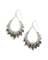 Nakamol | White Crystal Open Teardrop Earrings | Lyst