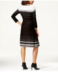Nine West | Black Striped A-line Sweater Dress | Lyst