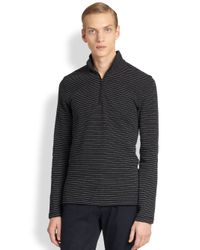 Michael Kors | Black Striped Waffle Knit Shirt for Men | Lyst