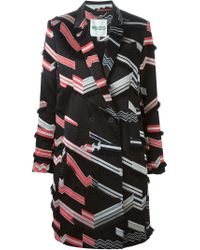 KENZO - Black 'ribbons' Double Breasted Coat - Lyst