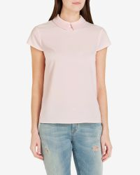Ted Baker | Pink Embellished Collar Top | Lyst