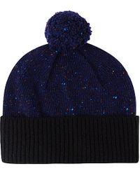 Paul Smith - Blue Block Knit Wool Beanie for Men - Lyst